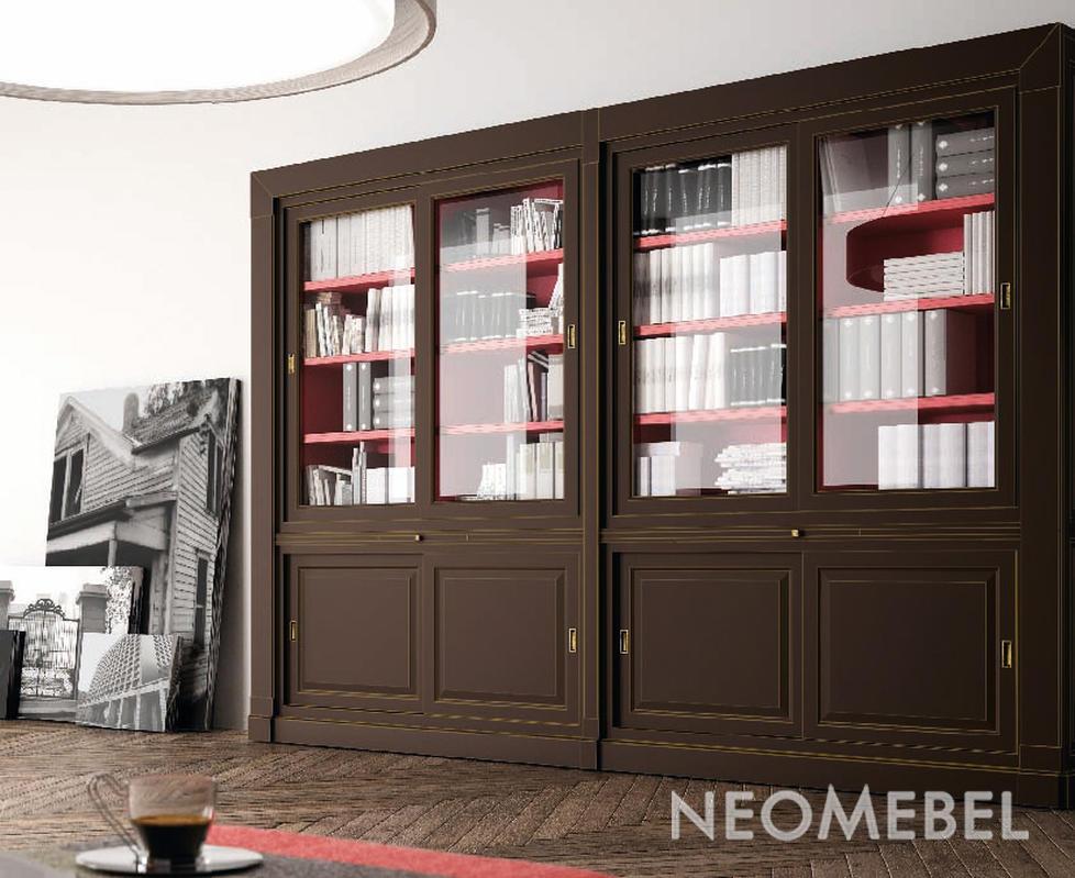Книжный шкаф отделка темно-коричневый матовый лак (moka) вну.